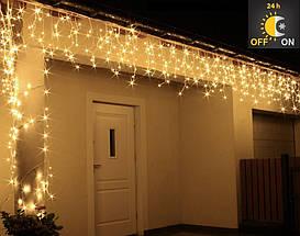 Новогодняя гирлянда Бахрома 500 LED, Белый теплый свет 22,5W, 24 м + Ночной датчик, фото 2