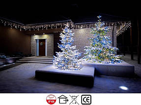 Новогодняя гирлянда Бахрома 500 LED, Белый холодный свет 22,5W, 24 м + Ночной датчик, фото 2