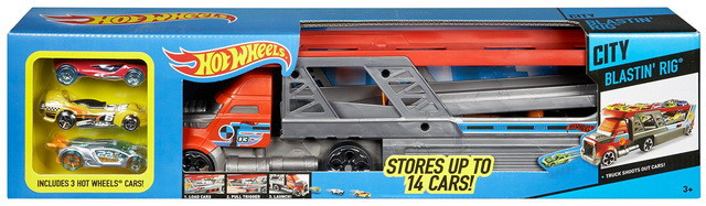 Игровой наборХот Вилс трейлер автовоз с пускателем и3 машинки Hot Wheels.