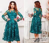f460a9c6ef4 Женское приталенное платье миди с ажурно кружевной вышивкой и расклешенной  юбкой S