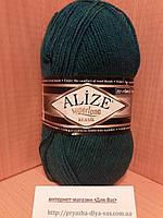 Полушерстяная пряжа (25%-шерсть, 75%-акрил, 100 г/ 280 м) Alize Superlana Klasik 212(петроль)