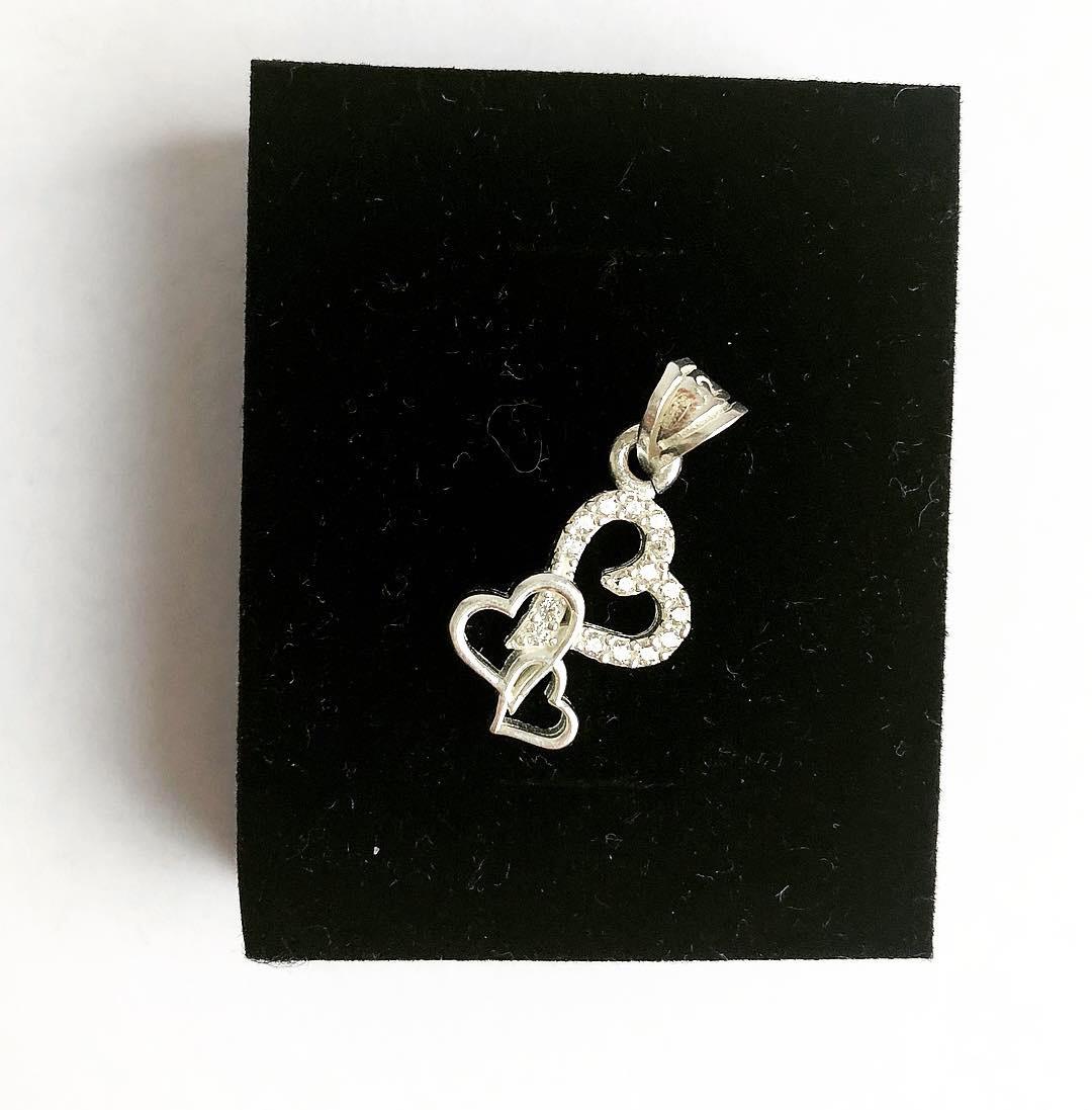 Подвеска из серебра Мої прикраси в стиле минимализм с куб. цирконом сердечки