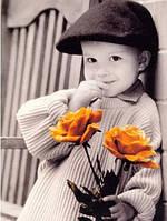 """Алмазная мозаика """"Мальчишка с розами"""", картина стразами 25*30см"""