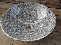 Умывальник (курна) из гранита круглый 400 мм (серый камень)