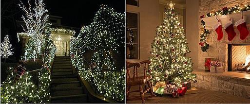 Новогодняя гирлянда 100 LED,Белый теплый, Длина 8 Метров, фото 3