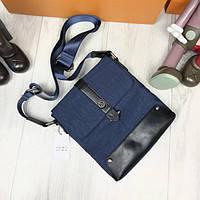 4a71d2fbb880 Стильная женская сумка-планшетка Armani Jeans синяя через плечо унисекс  текстиль Армани Джинс люкс реплика