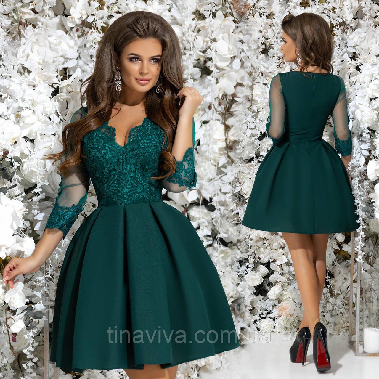 a3c1e40841a Женское нарядное платье с кружевом и пышной юбкой