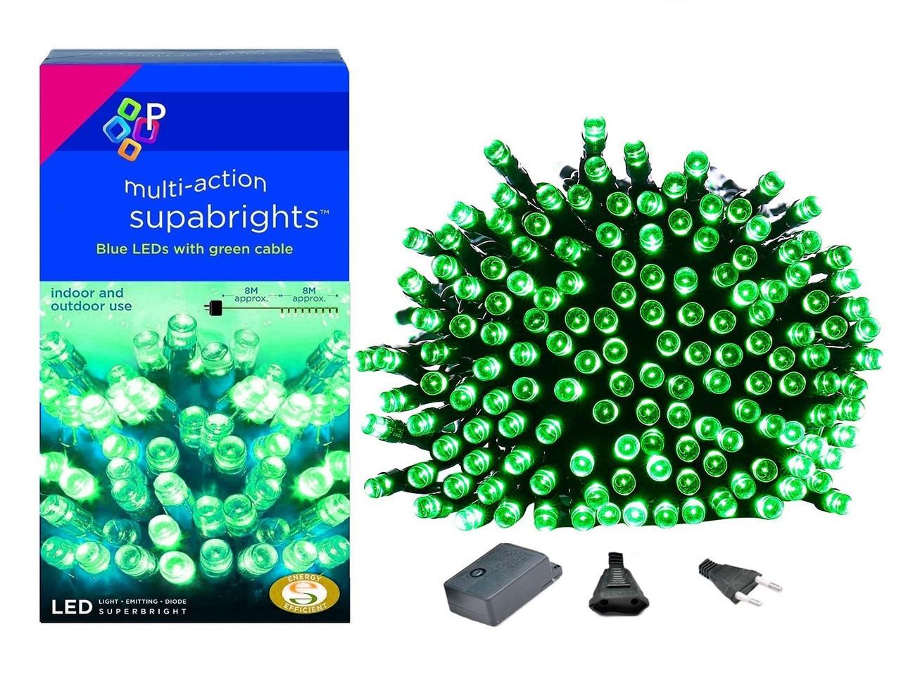 Новогодняя гирлянда 300 LED, IP44, Длина 24 М, Зеленый свет