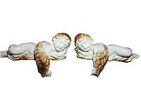 Статуэтки парные Ангелы на камин белые с позолотой 10х22 см