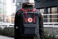 Рюкзак Fjallraven Kanken Black-Ox Red Backpack Bags - черный с бордовой ручкой