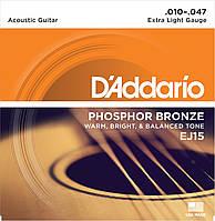 Струны для акустической гитары D*ADDARIO EJ-15 (010-047) фосфористая бронза