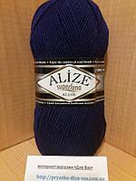 Полушерстяная пряжа (25%-шерсть, 75%-акрил, 100 г/ 280 м) Alize Superlana Klasik 388(чернильный)