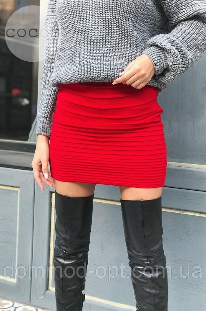 Женская теплая юбка из шерсти 4320 (р.42-48) красная