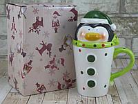 """Новогодняя чашка Пингвин с крышкой 480 мл """"Санта-элит"""" ( новогодняя кружка ), фото 1"""