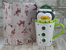 """Новогодняя чашка Пингвин с крышкой 480 мл """"Санта-элит"""" ( новогодняя кружка )"""