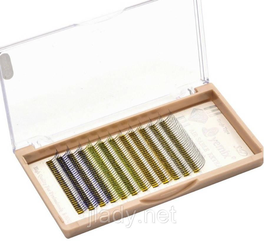 Ресницы 2D Glitter Eyemix C 0.15, 12мм. (4 Цвета)