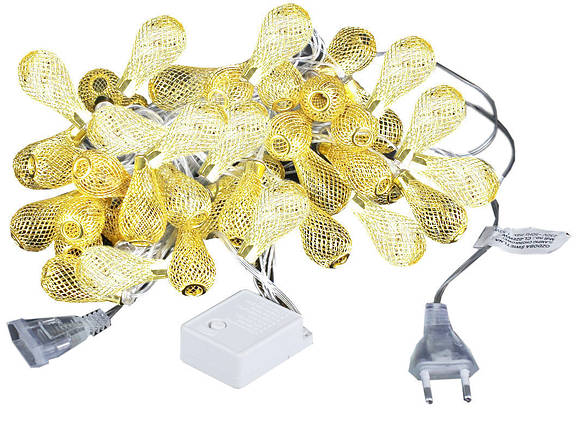 Новогодняя гирлянда 30 LED, Длина 7 М, Белый теплый свет, фото 2