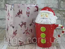 """Новогодняя чашка Дед мороз с крышкой 480 мл """"Санта-элит"""" ( новогодняя кружка )"""