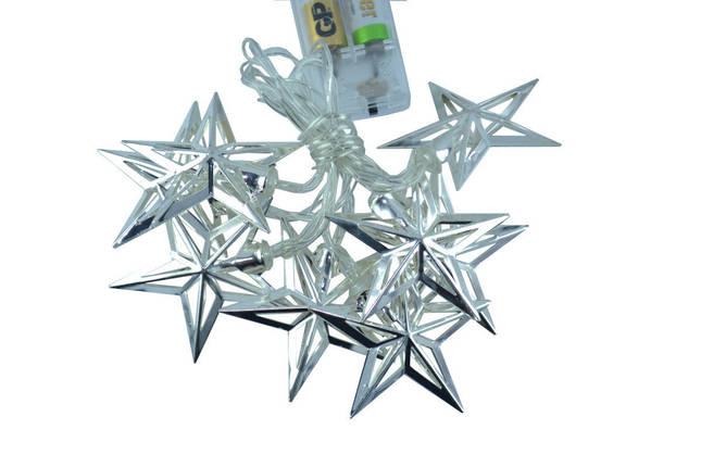 """Новогодняя гирлянда """"Звезды"""" 8 LED, Белый теплый свет, на пальчиковых батарейках, фото 2"""