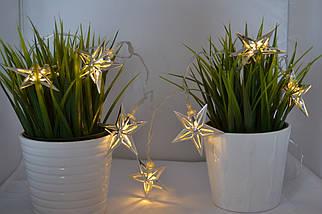 """Новогодняя гирлянда """"Звезды"""" 8 LED, Белый теплый свет, на пальчиковых батарейках, фото 3"""