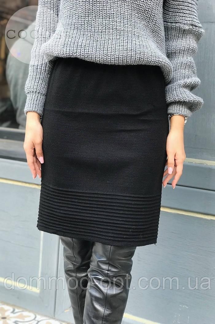 Женская теплая юбка из шерсти 4328 (р.44-50) черная