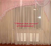 Ламбрикен Ассиметрия нежно розовый  3м Вуаль, фото 1