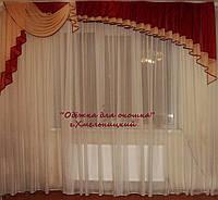 Ламбрикен Ассиметрия бордо с бежем  3м Вуаль, фото 1