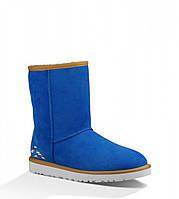 Угги женские короткие UGG Classic Short Rustic Weave Blue| Угги Австралия классик шорт зимние оригинал, фото 1