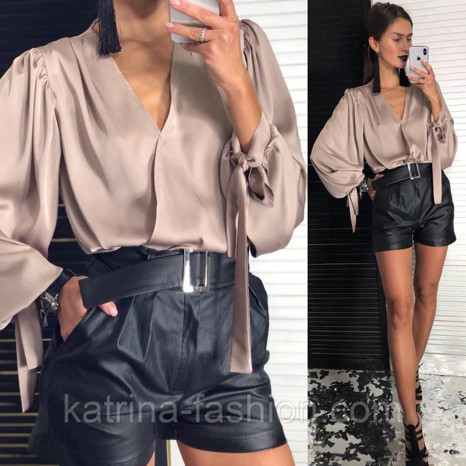Женская шелковая блуза и отдельно шорты из эко-кожи (2 цвета)