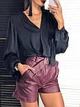 Женская шелковая блуза и отдельно шорты из эко-кожи (2 цвета), фото 2