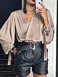 Женская шелковая блуза и отдельно шорты из эко-кожи (2 цвета), фото 5