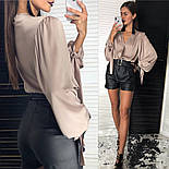 Женская шелковая блуза и отдельно шорты из эко-кожи (2 цвета), фото 6