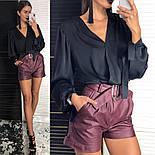 Женская шелковая блуза и отдельно шорты из эко-кожи (2 цвета), фото 9