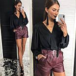 Женская шелковая блуза и отдельно шорты из эко-кожи (2 цвета), фото 8