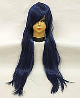 Парик женский ровный аниме синий темный 80см
