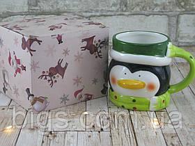 """Новогодняя чашка Пингвин 380 мл """"Санта"""" ( новогодняя кружка )"""