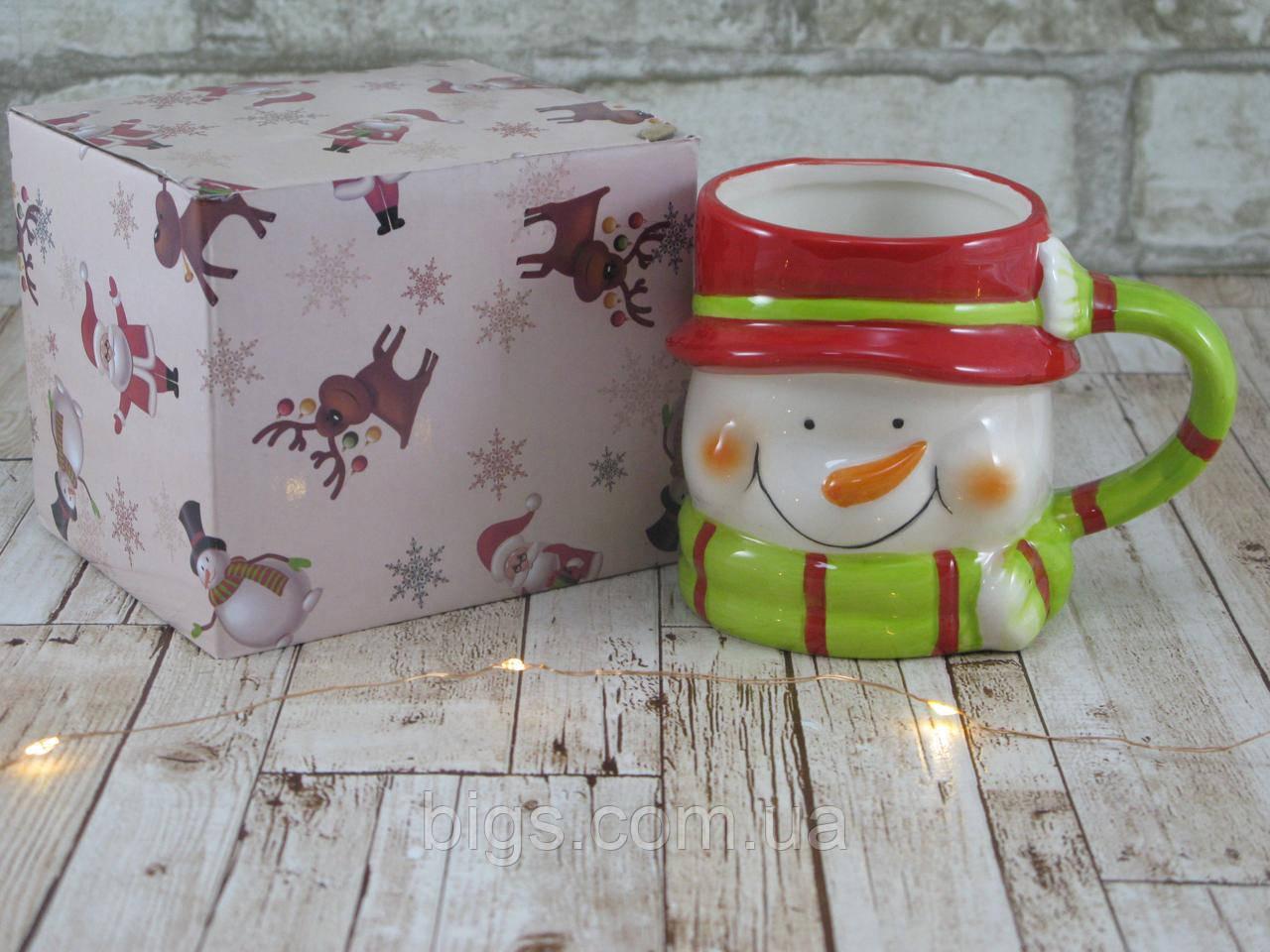 """Новогодняя чашка Снеговик 380 мл """"Санта"""" ( новогодняя кружка )"""
