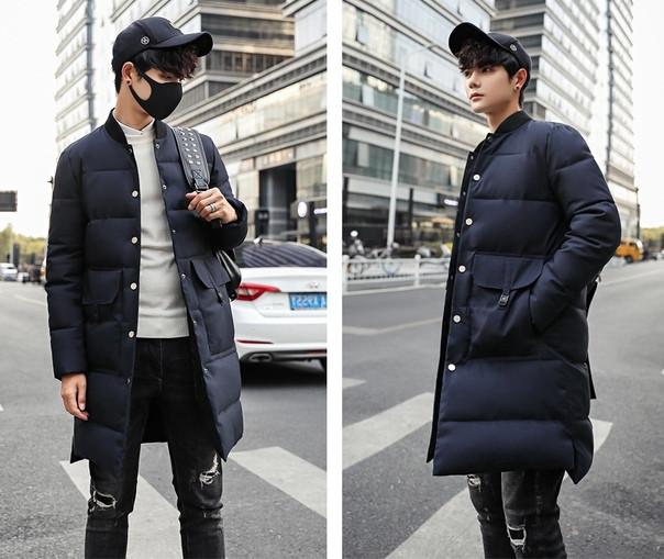 Теплое мужское пальто с воротником стойка