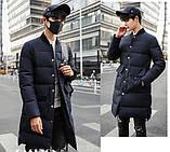 Теплое мужское пальто с воротником стойка, фото 4