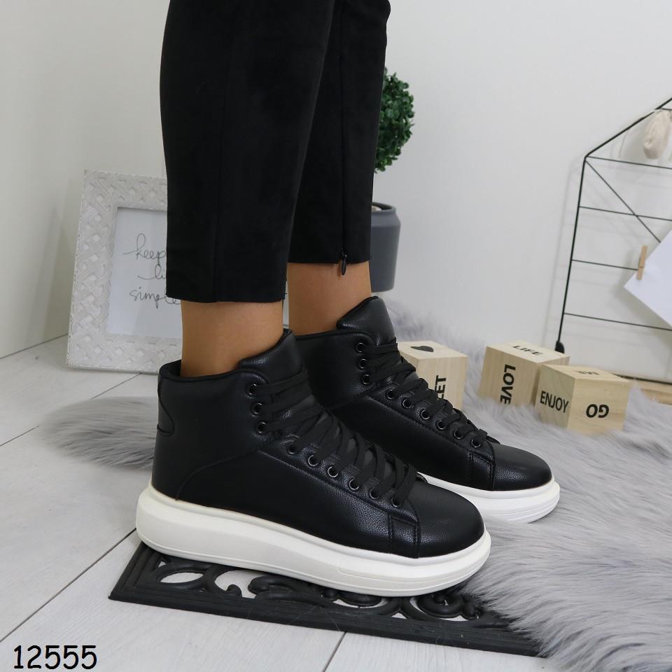 Высокие кроссовки черные женские  р.  37