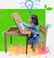 Дитячий столик  з пеналом і стільчик, бук, фото 1