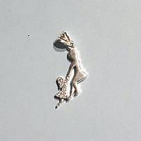 Подвеска из серебра Мої прикраси в стиле минимализм с куб. цирконом мама и дочка
