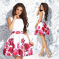 """Женское нарядное  платье с и пышной юбкой """"Цветочный рай 1"""" (жіноче плаття ) 2 цвета, фото 1"""
