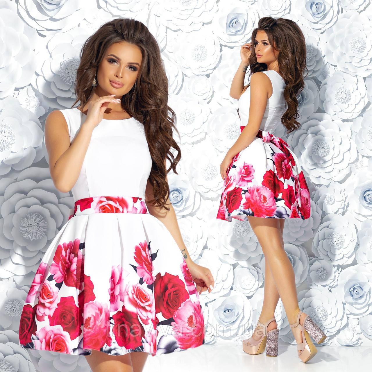 """Женское нарядное  платье с и пышной юбкой """"Цветочный рай 1"""" (жіноче плаття ) 2 цвета"""