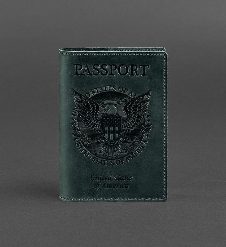 Обложка кожаная для паспорта изумруд (ручная работа)