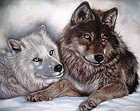 """Набор алмазной вышивки (мозаики) """"Волки - Инь и Янь"""""""