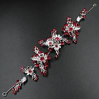 """Диадема Веточка """"Lyazzat red"""" на металлической основе серебристого цвета"""