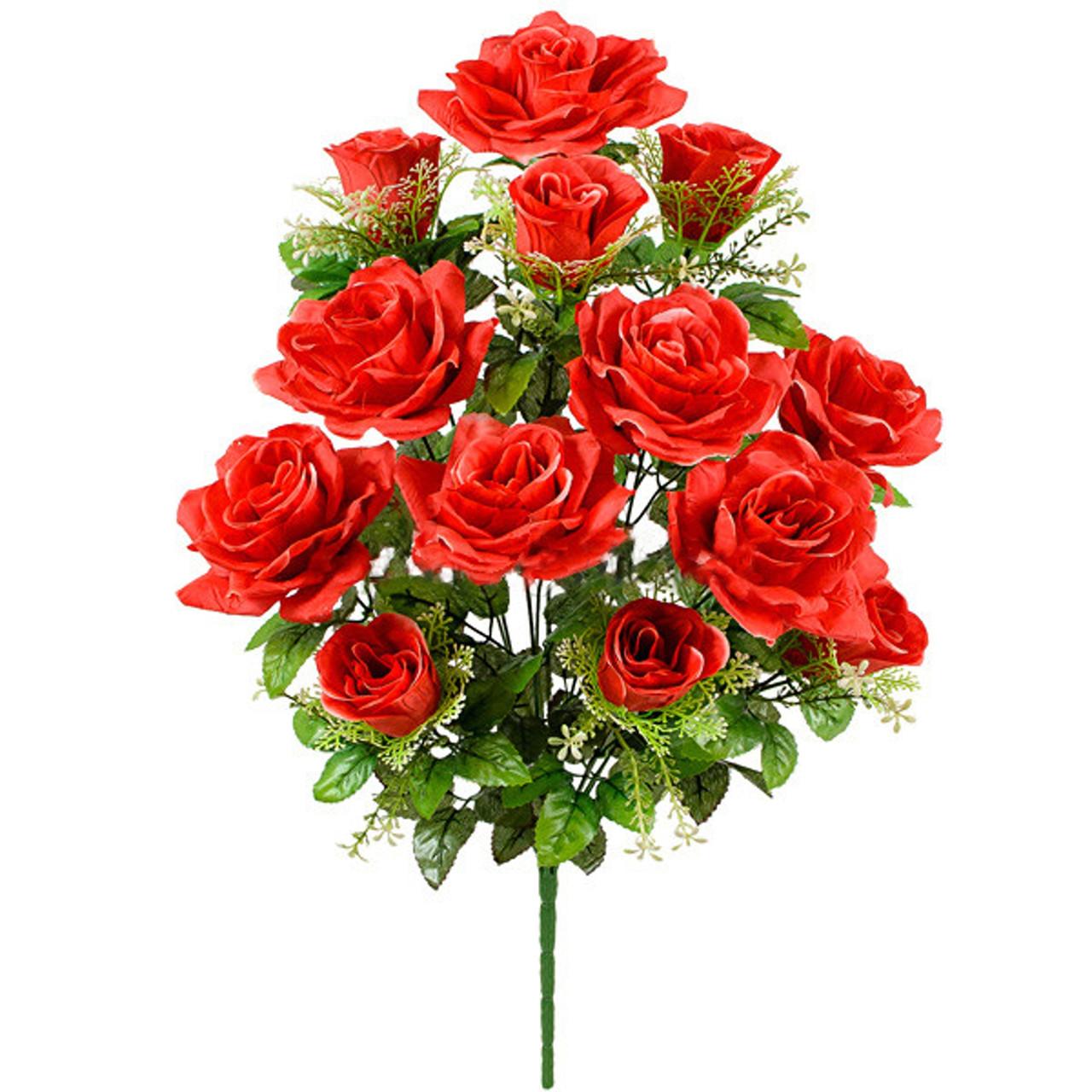 Букет  роз и бутонов в розетке, 59см (10 шт в уп)