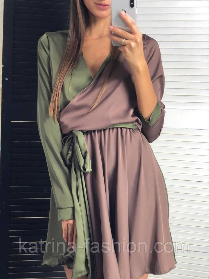 Женское двухцветное шелковое платье с поясом (2 цвета)