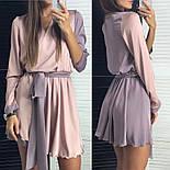 Женское двухцветное шелковое платье с поясом (2 цвета), фото 3
